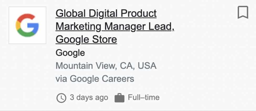 Global Digital Product Marketing Manager Lead for Google Store Job Post Screenshot