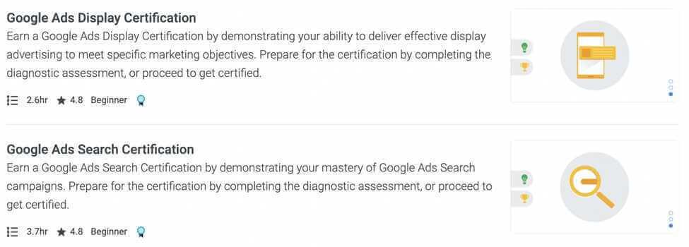 Google Ads Certifications Screenshot