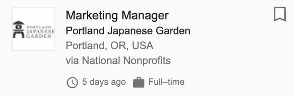 Marketing Manager for Portland Japanese Garden Job Post Screenshot
