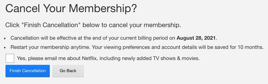 Screenshot Netflix membership cancellation application user interface