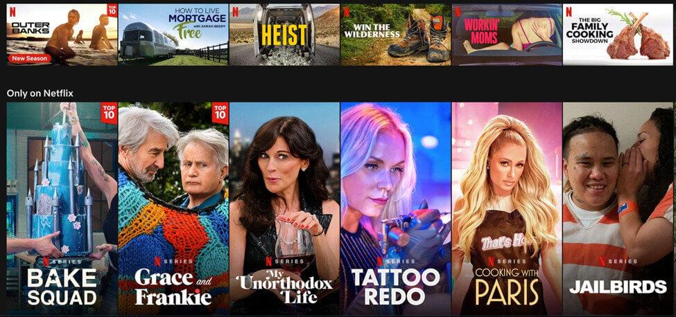 Screenshot Netflix Originals thumbnails