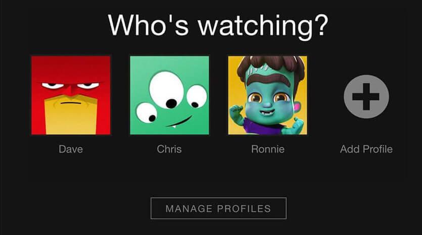Screenshot Netflix post signup home screen showing user profiles