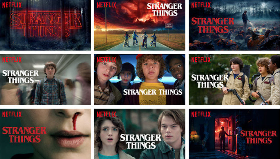 Screenshot Netflix Stranger Things movie thumbnail according to user's interest