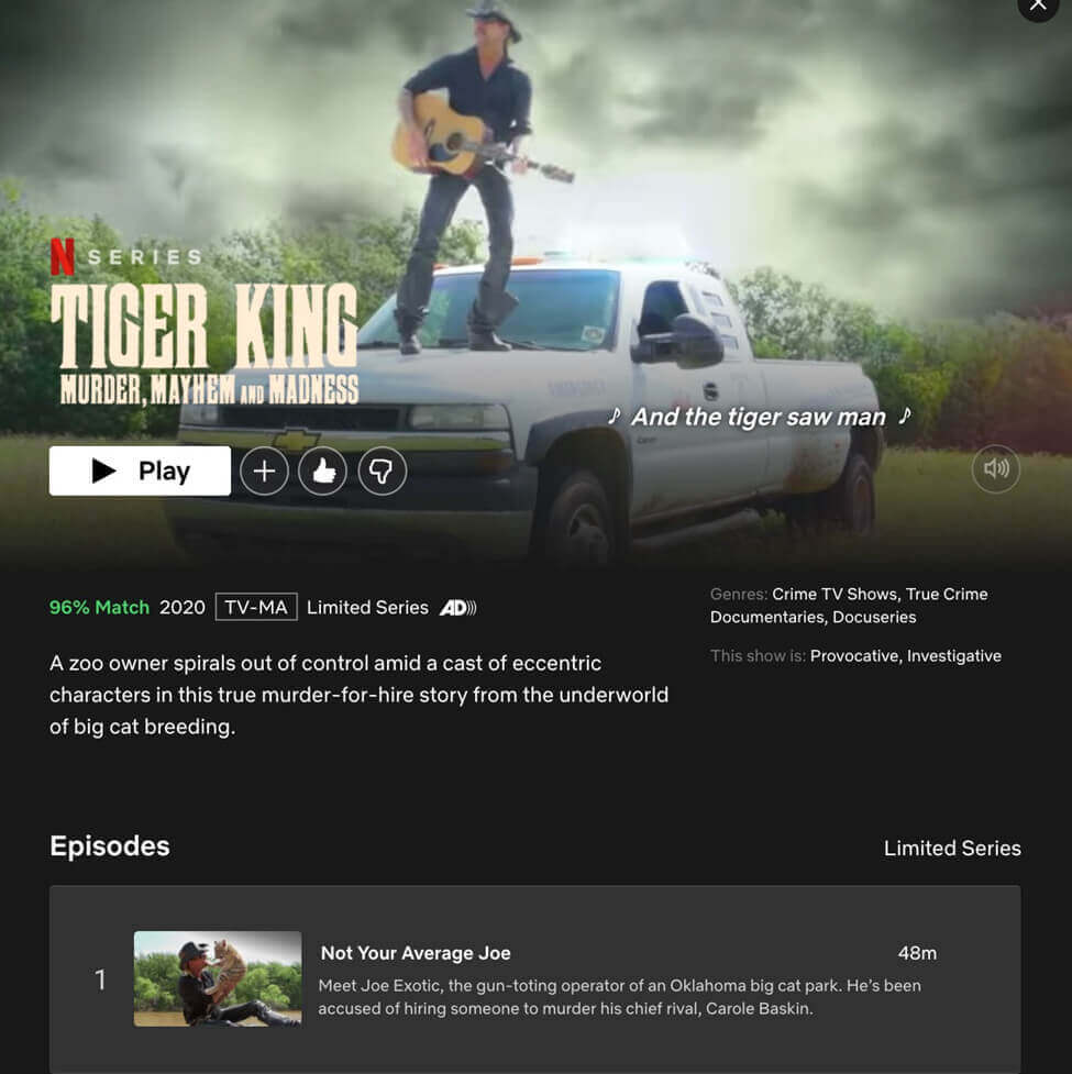 Screenshot Netflix thumbs up and thumbs down rating feature