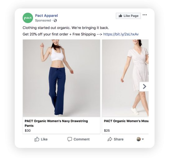 Cart abandonment retargeting ad example from Pact Apparel