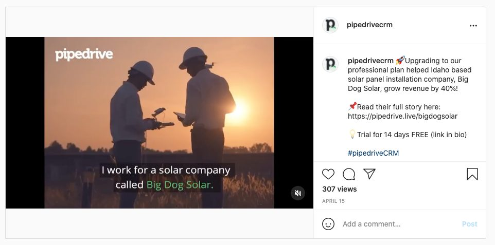 Instagram post example from Pipedrive