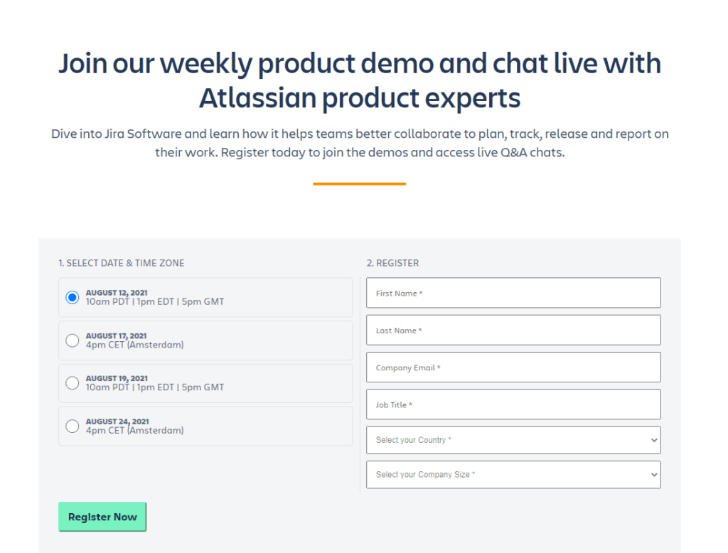 Atlassian software demo form