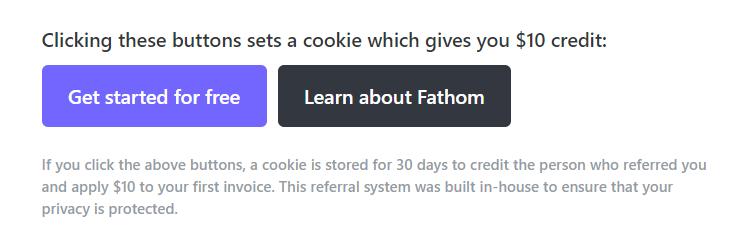 Fathom CTA and social proof