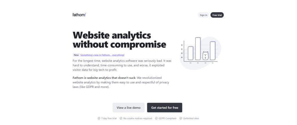 Fathom website analytics landing page