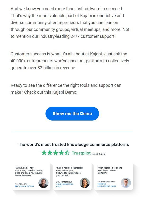 Kajabi social proof email