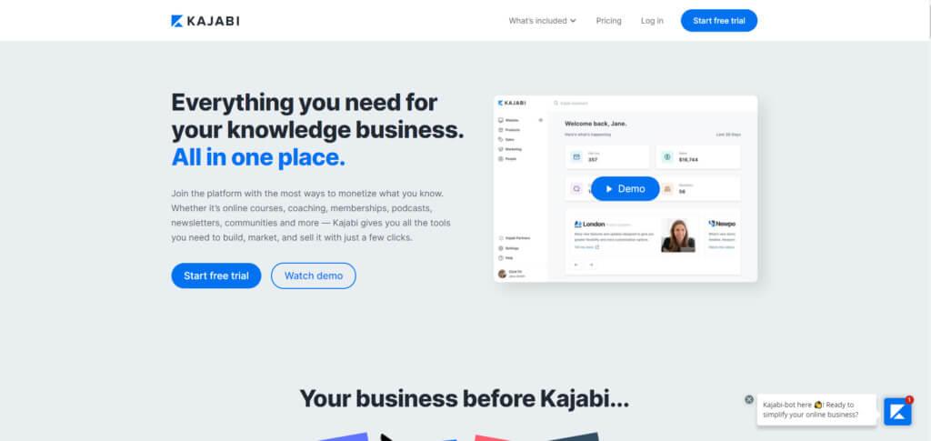 Kajabi landing page