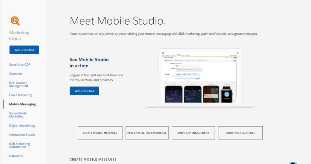 Mobile Studio demo options landing page