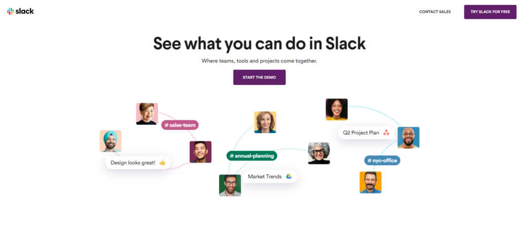 Slack home page and value proposition