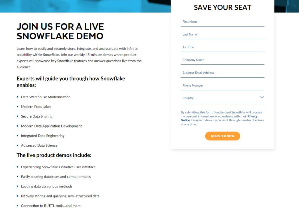 Snowflake demo form