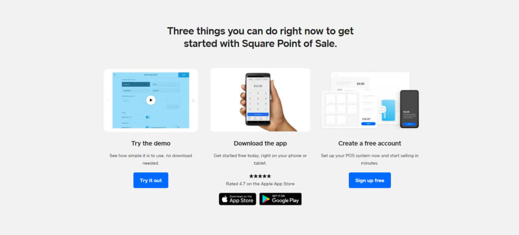 Square POS demo and sign up options