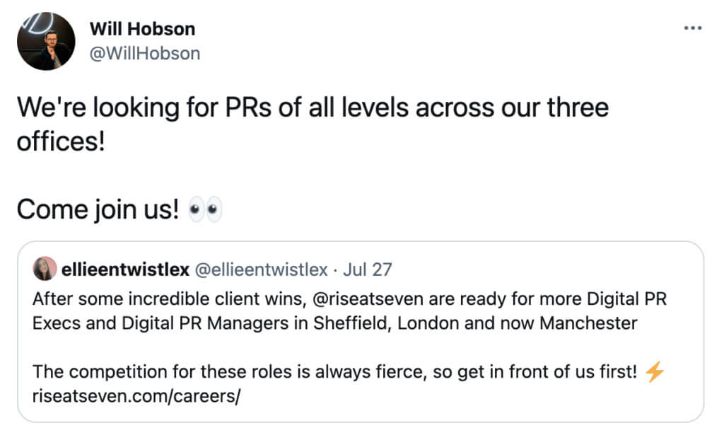 Rise at Seven employee sharing job opportunities on Twitter