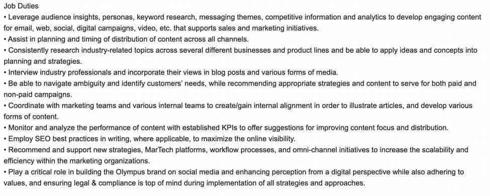 Screenshot Example Content Marketing Manager Job Duties