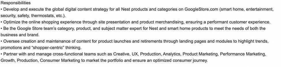 Screenshot Example Digital Product Marketing Manager Job Duties