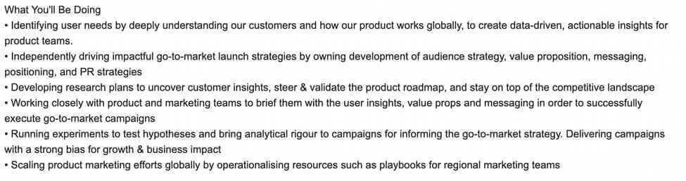 Screenshot Example Marketing Manager Responsibilities on Job Boards 2