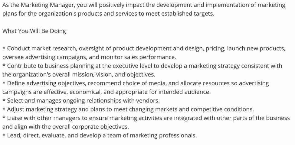 Screenshot Example Marketing Manager Responsibilities on Job Boards
