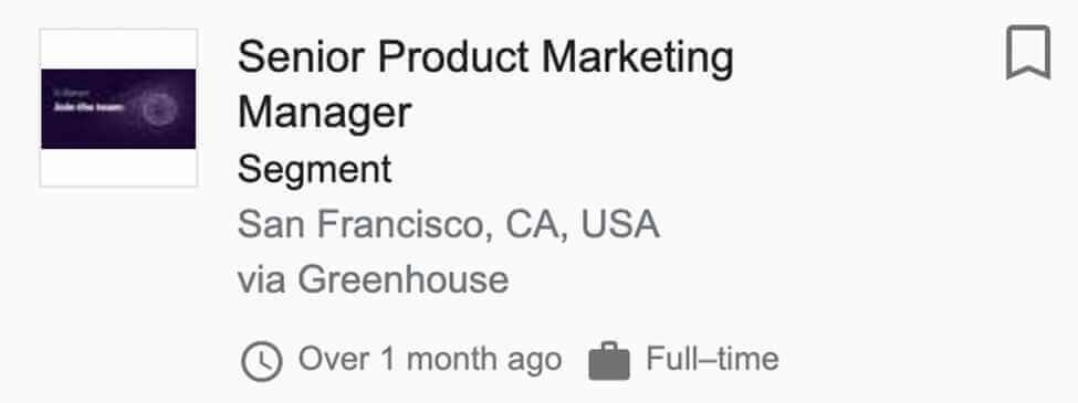 Senior Product Marketing Manager for Segment Job Post Screenshot