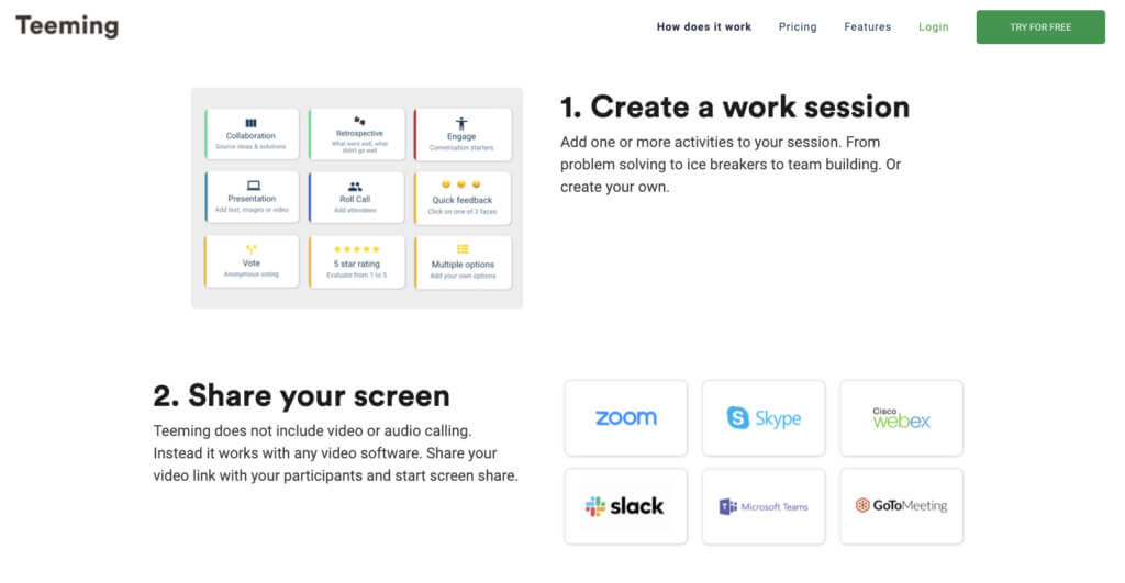 Screenshot from Teeming's product page
