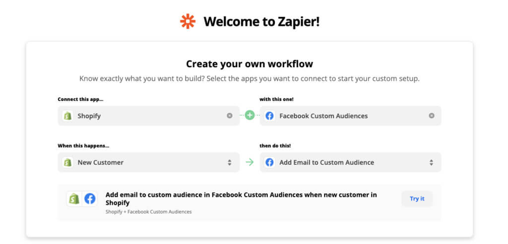 Zapier Shopify + Facebook Ad automation example