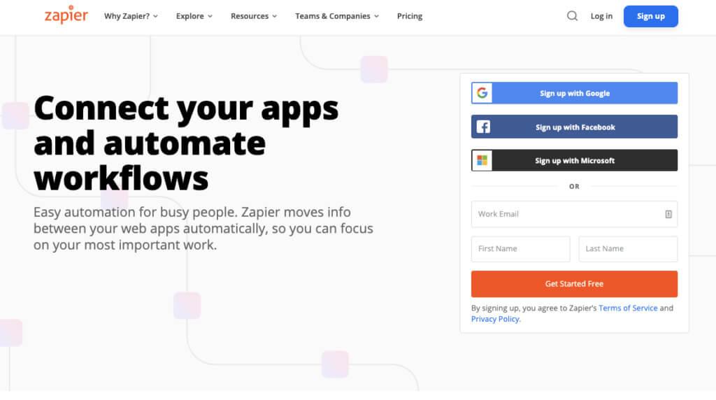 Zapier home page