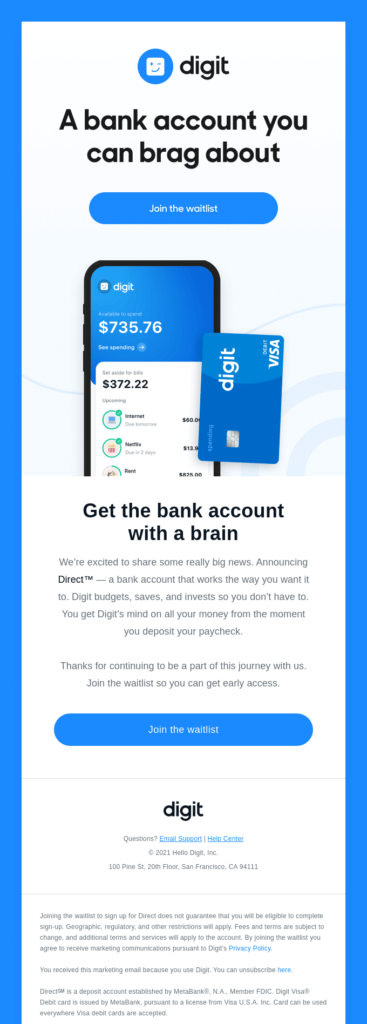 Digit product launch email