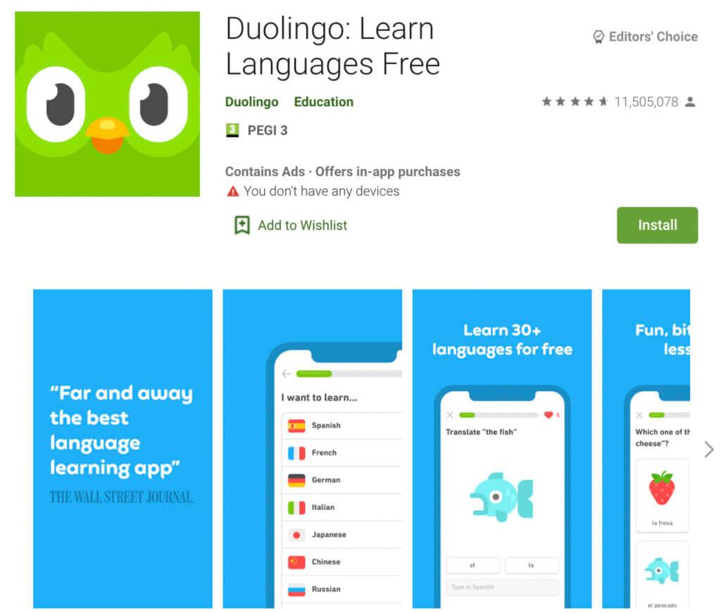 Screenshot of the Duolingo app