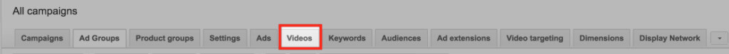 Screenshot of Google Ads menu