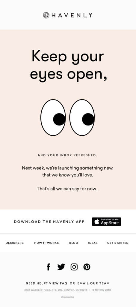 Havenly product launch email