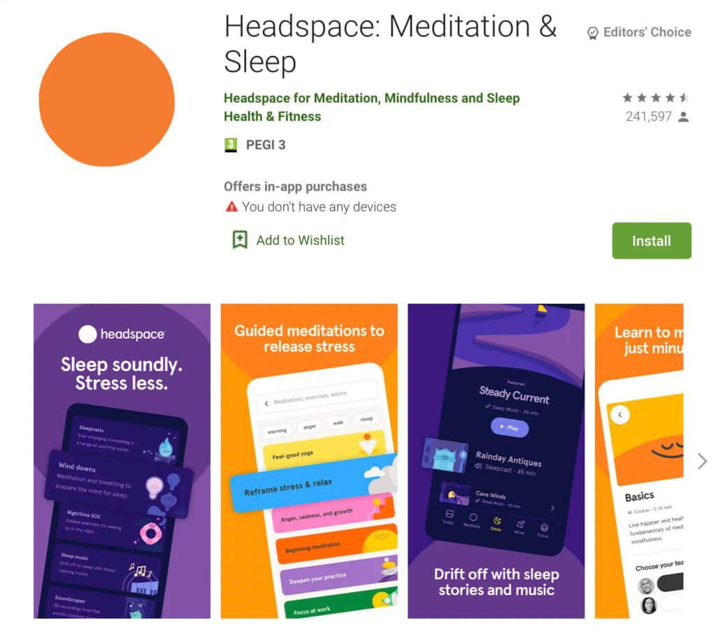 Screenshot of the Headspace app