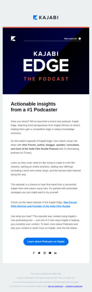 Kajabi product launch email