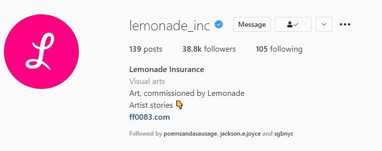 Lemonade's Instagram profile