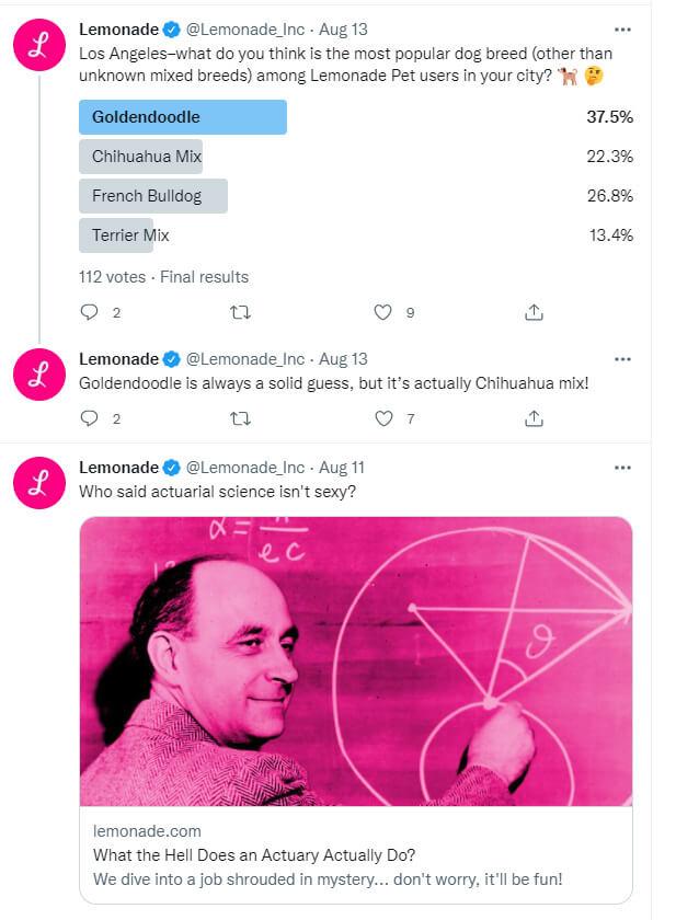 Twitter content from Lemonade