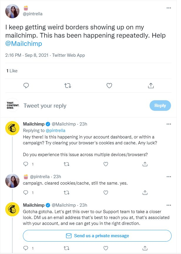Twitter conversation between Mailchimp and a user