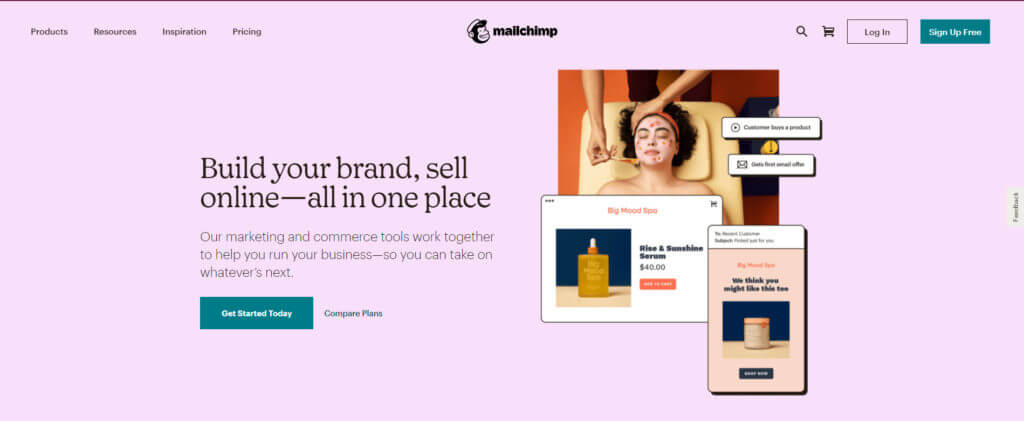 Mailchimp's home page