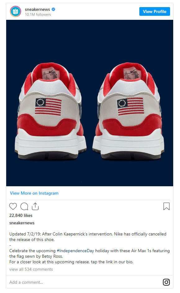 Instagram post from Nike's Betsy Ross campaign