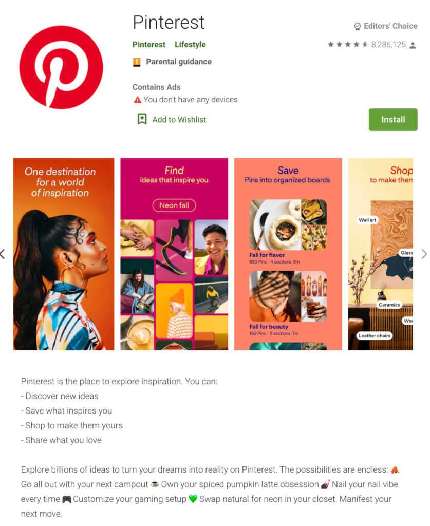 Screenshot of the Pinterest app