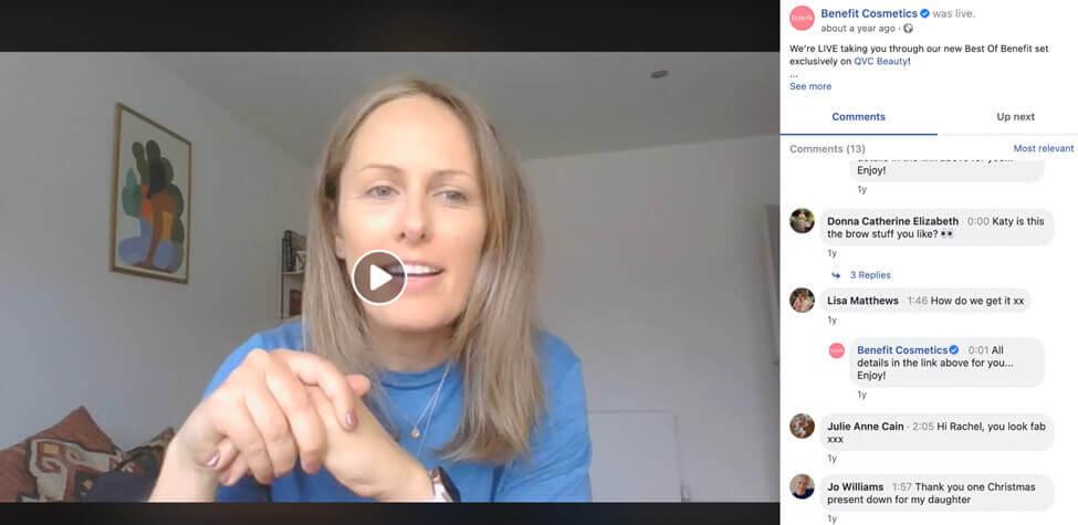 screenshot benefit cosmetics facebook live session
