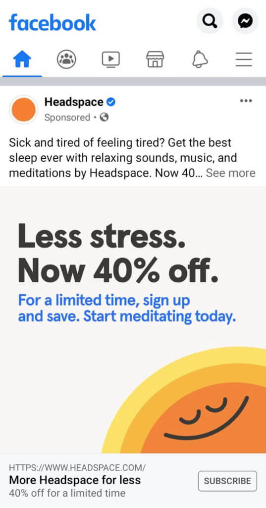 screenshot headspace traditional retargetting approach using facebook