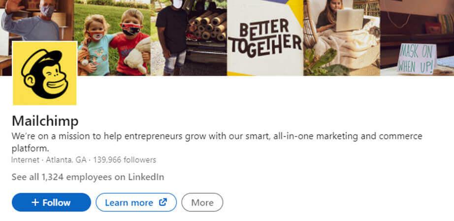 screenshot mailchimp on linkedin