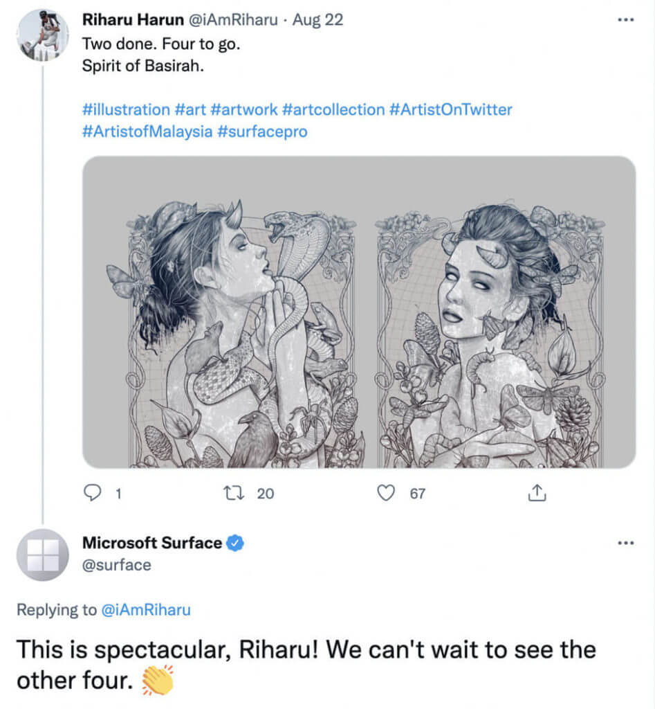 screenshot microsoft surface curates content by sharing users art and testimonials