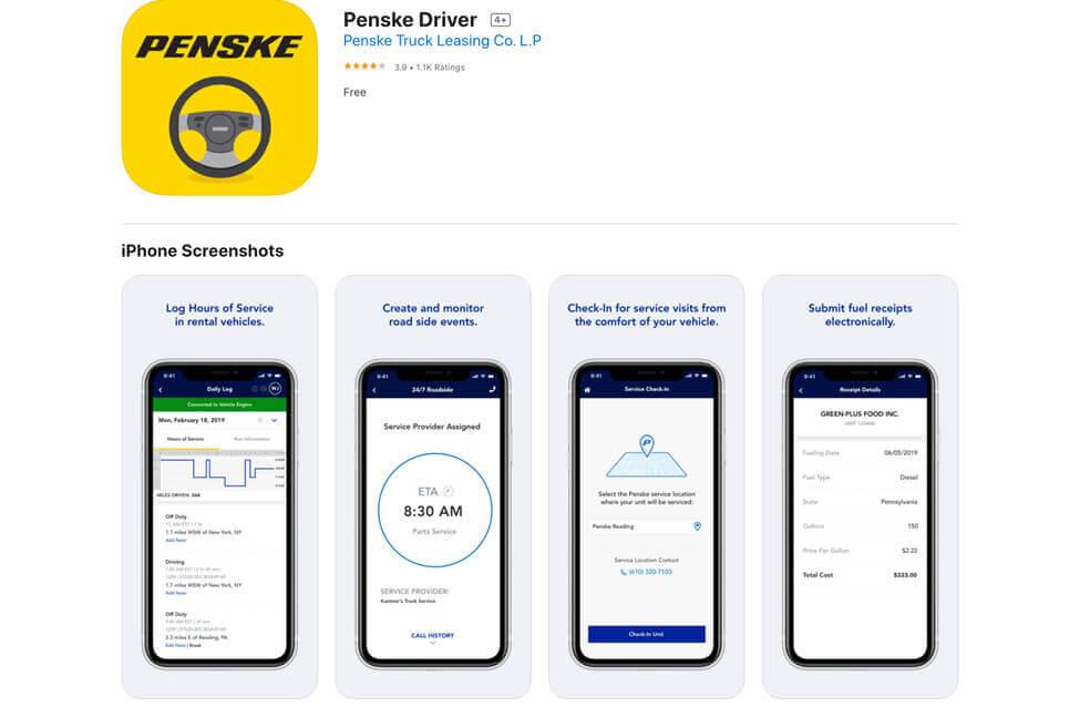 screenshot of penske driver mobile application