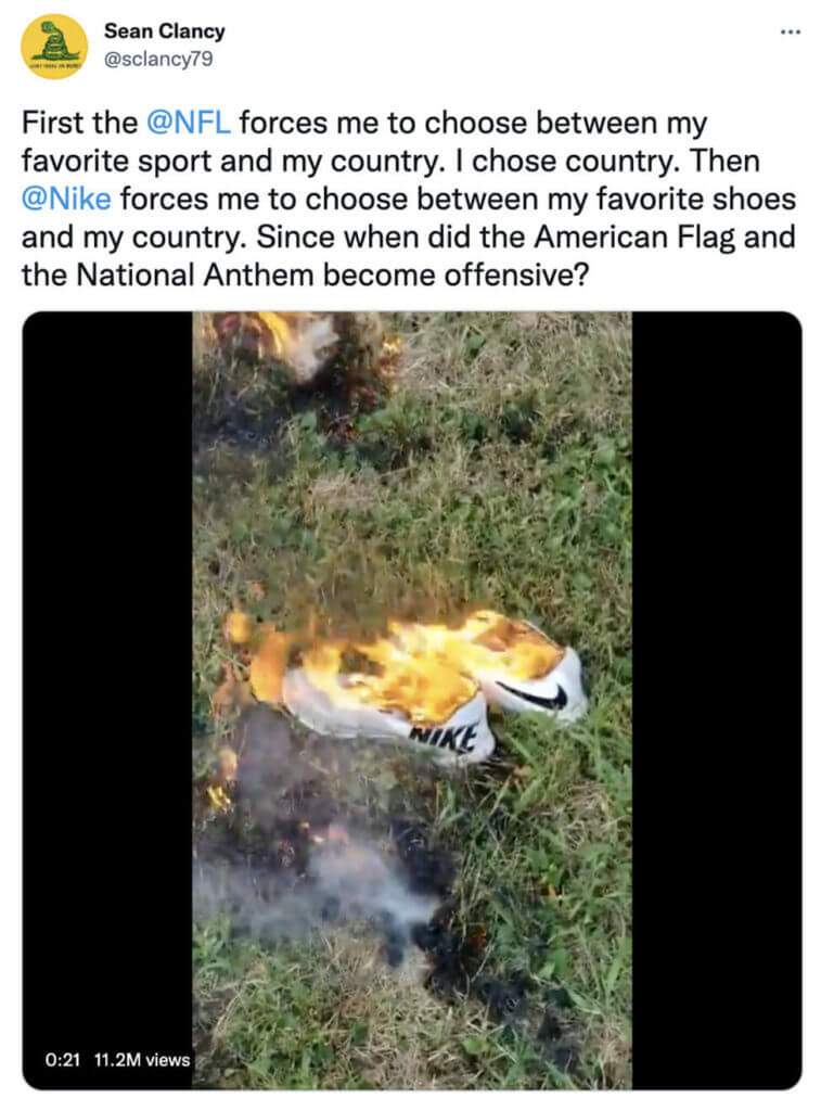 screenshot sean clancy on twitter disagrees on nfl and nike stance
