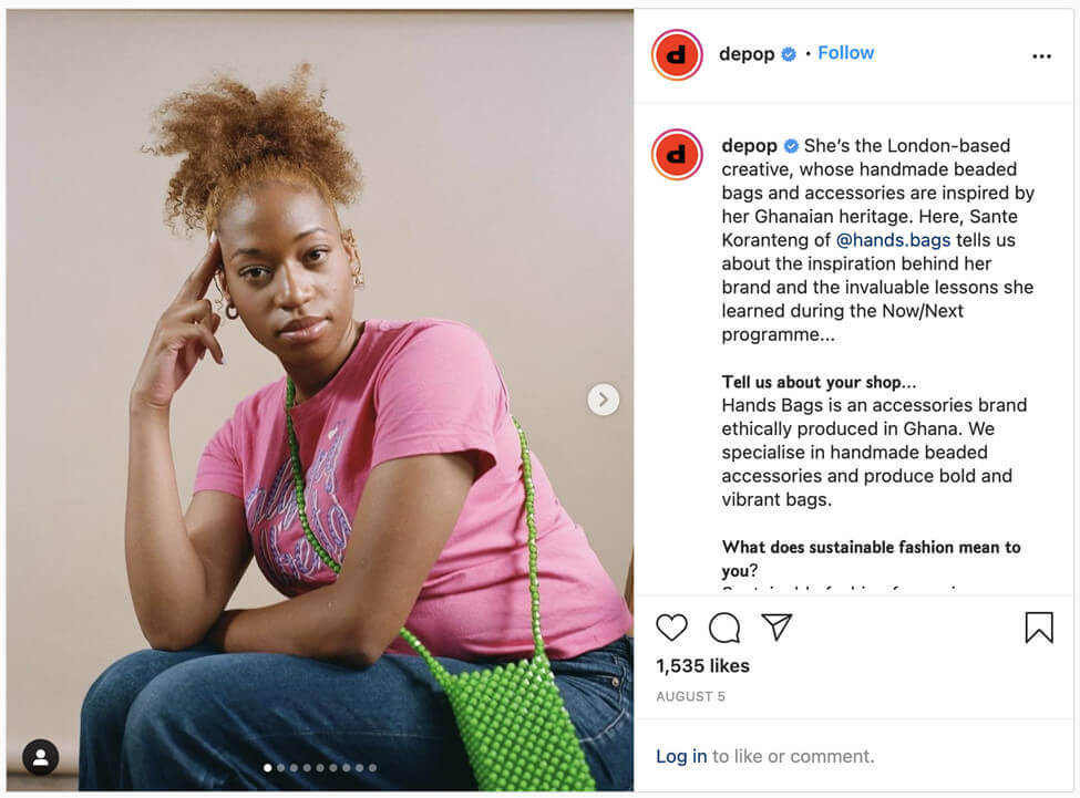 screenshot selling app depop combining user generated content with influencer questions and answers