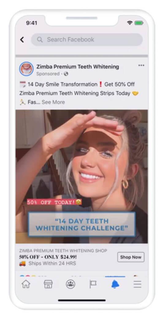 screenshot zimba teeth whitening company using facebook to engage users