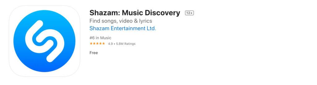 Screenshot of the Shazam app (Apple)