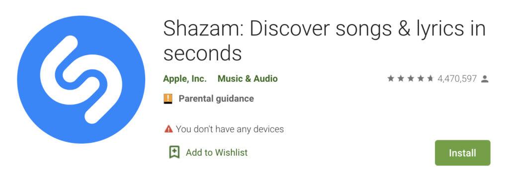Screenshot of the Shazam app